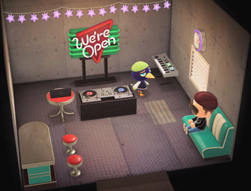 Interior of Jacques's house in Animal Crossing: New Horizons