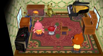 Interior of Teddy's house in Animal Crossing: City Folk