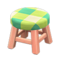 Wooden Stool (Pink Wood - Green) NH Icon.png