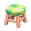 Wooden Stool (Pink Wood - Green)