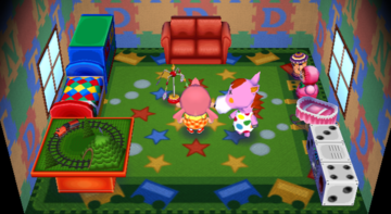 Interior of Peaches's house in Animal Crossing: City Folk