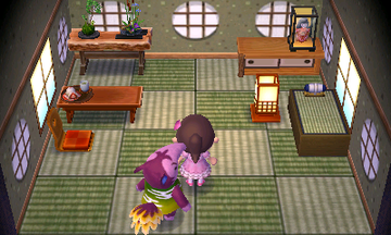 Interior of Snooty (villager)'s house in Animal Crossing: New Leaf