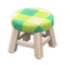 Wooden Stool (White Wood - Green) NH Icon.png