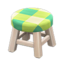Wooden Stool (White Wood - Green)