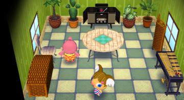 Interior of Alice's house in Animal Crossing: City Folk