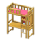 Loft Bed with Desk (Natural - Pink) NH Icon.png
