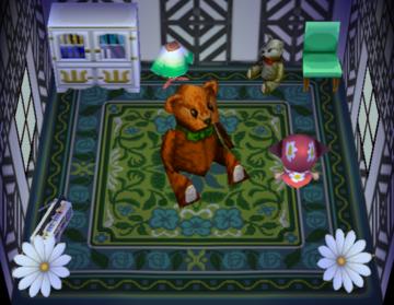 Interior of Chevre's house in Animal Crossing