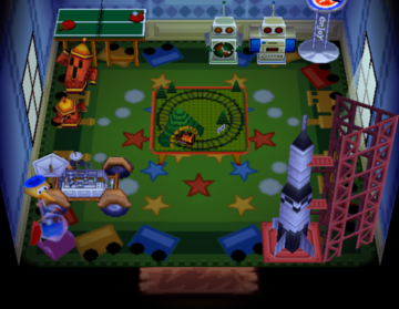 Interior of Weber's house in Animal Crossing