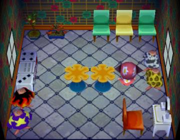 Interior of Rhoda's house in Animal Crossing