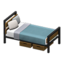 Ironwood Bed (Walnut - Blue-Gray)