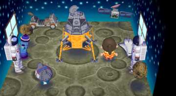 Interior of Ribbot's house in Animal Crossing: City Folk
