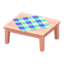 Wooden Table (Pink Wood - Blue)