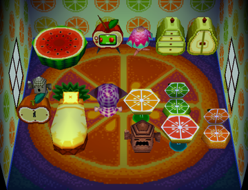 Interior of Tangy's house in Animal Crossing