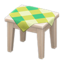 Wooden Mini Table (White Wood - Green)