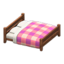 Wooden Double Bed (Dark Wood - Pink)