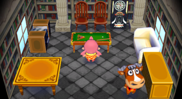 Interior of Angus's house in Animal Crossing: City Folk