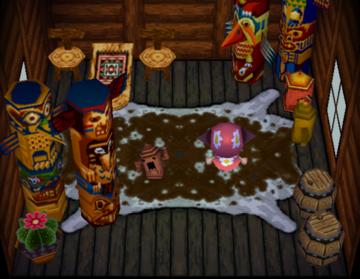 Interior of Hopper's house in Animal Crossing