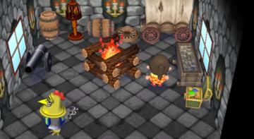 Interior of Knox's house in Animal Crossing: City Folk