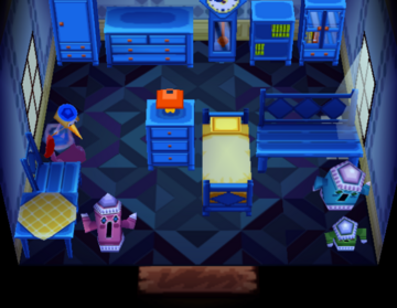 Interior of Puck's house in Animal Crossing