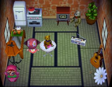 Interior of Tutu's house in Animal Crossing
