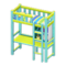 Loft Bed with Desk (Light Blue - Green Stripes) NH Icon.png