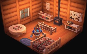 Interior of Boone's house in Animal Crossing: New Horizons