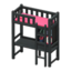 Loft Bed with Desk (Black - Pink)
