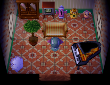 Interior of Eunice's house in Animal Crossing