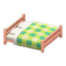 Wooden Double Bed (Pink Wood - Green) NH Icon.png