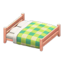 Wooden Double Bed (Pink Wood - Green)