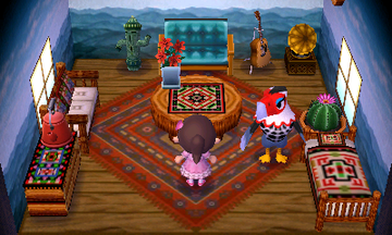Interior of Amelia's house in Animal Crossing: New Leaf