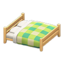 Wooden Double Bed (Light Wood - Green)